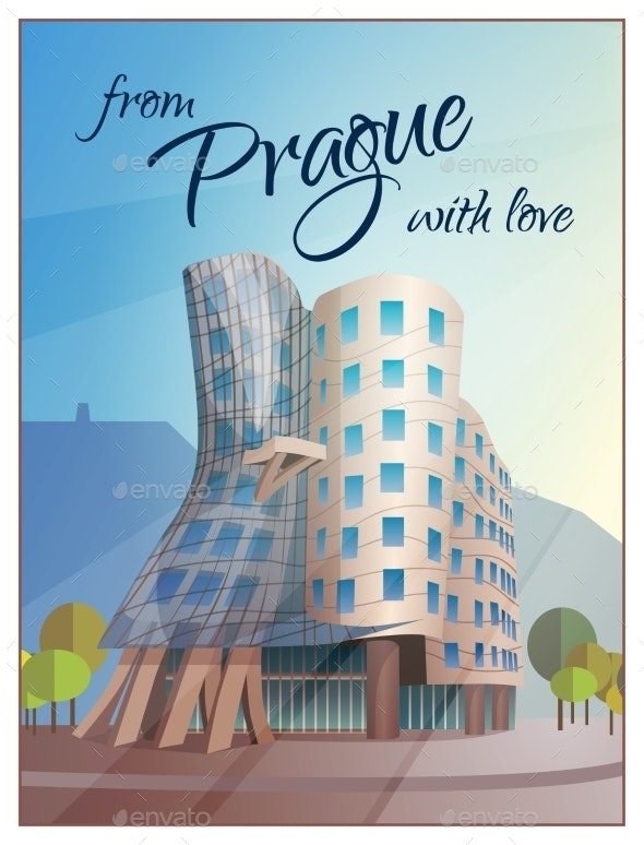 Dancing House Building Prague Poster - Travel Conceptual