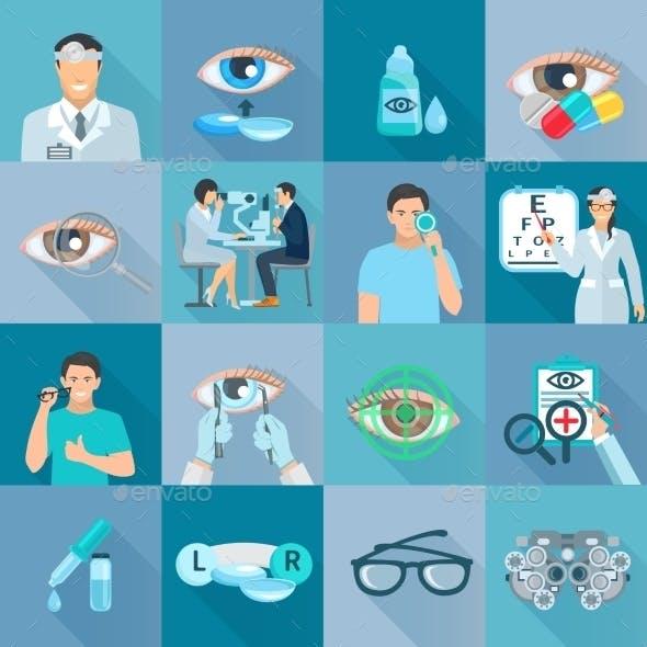 Oculist Ophthalmologist Flat Icons Set