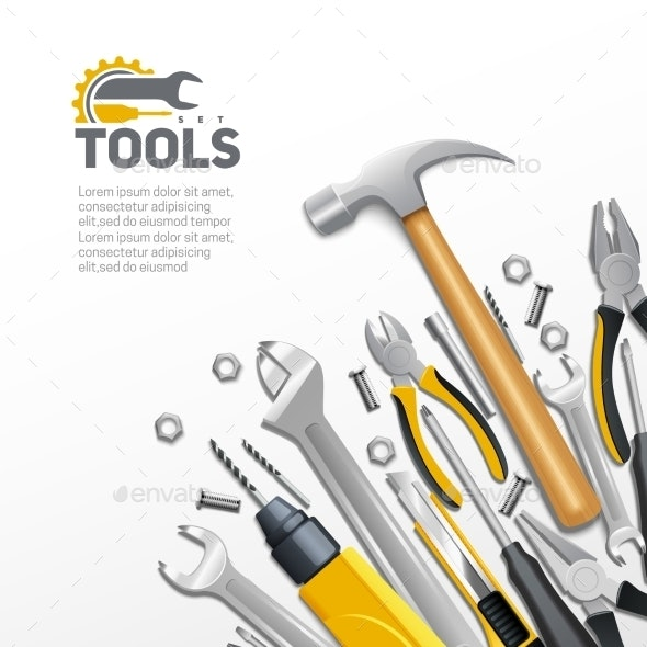 Carpenter Construction Tools Flat Composition - Backgrounds Decorative