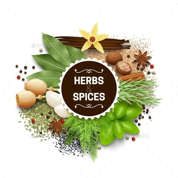 Illustration Of Set With Herbs And Spices