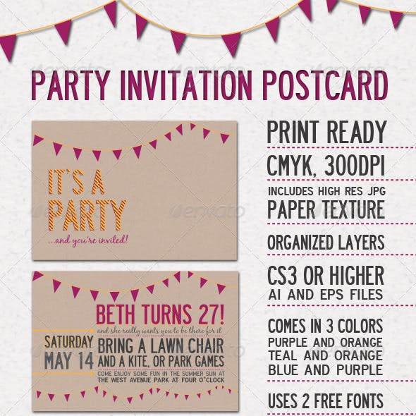 Party Invitation Postcard