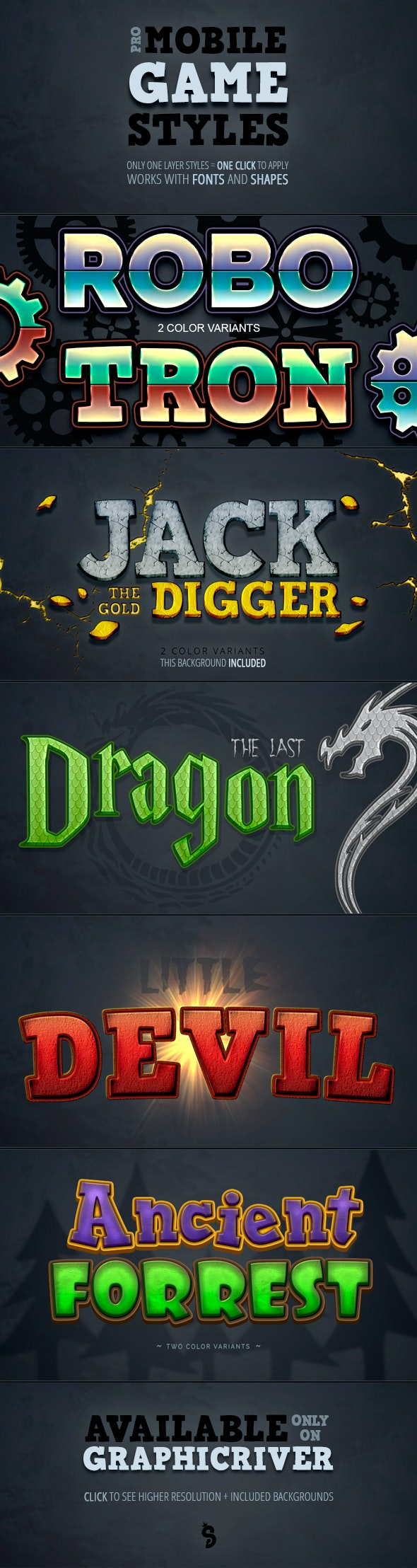 Mobile Game Photoshop Styles - Text Effects Styles