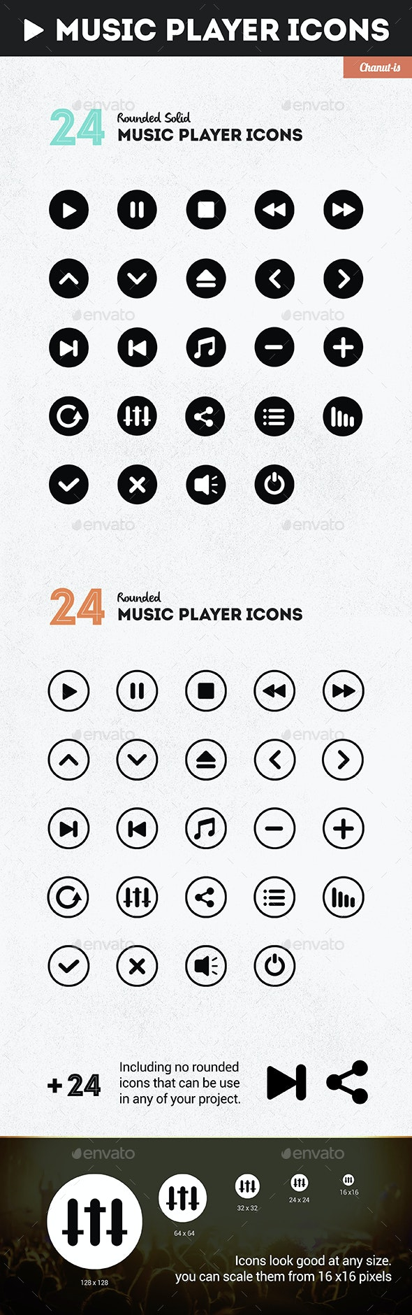 24 Music player pack  - Software Icons