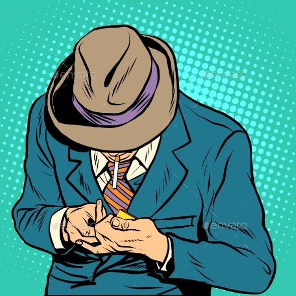 Male Smoker Pop Art Retro Style - Health/Medicine Conceptual