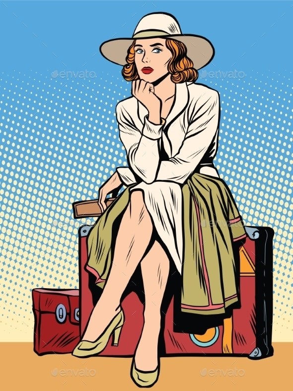 Retro Girl Passenger with a Ticket - Travel Conceptual