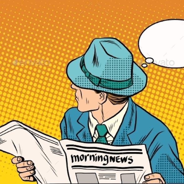 Retro Man Reading the Morning News