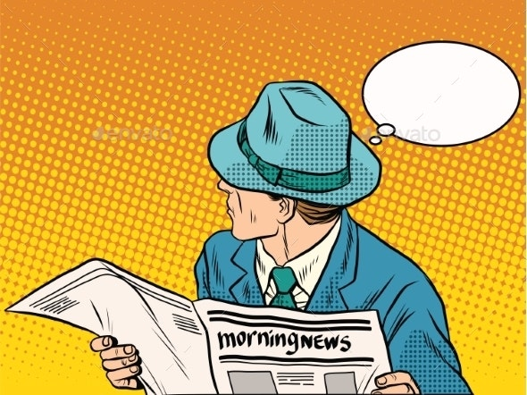 Retro Man Reading the Morning News - Concepts Business