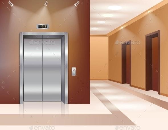 Hall with Elevator - Decorative Symbols Decorative
