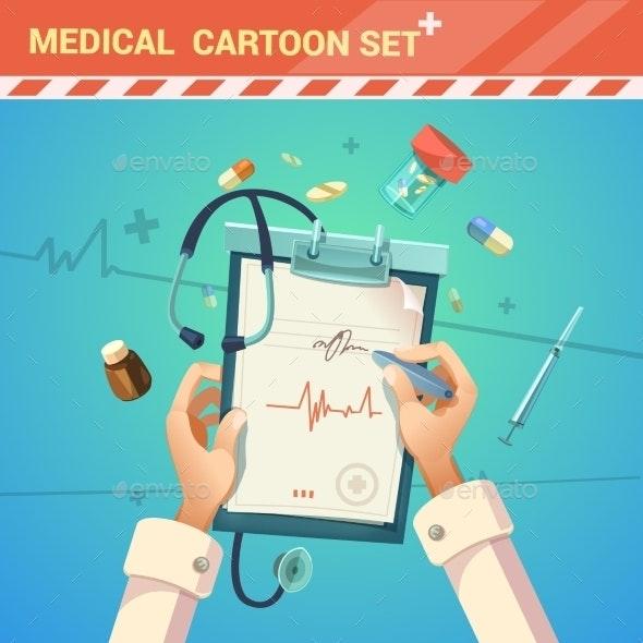 Medicine Cartoon Illustration  - Health/Medicine Conceptual