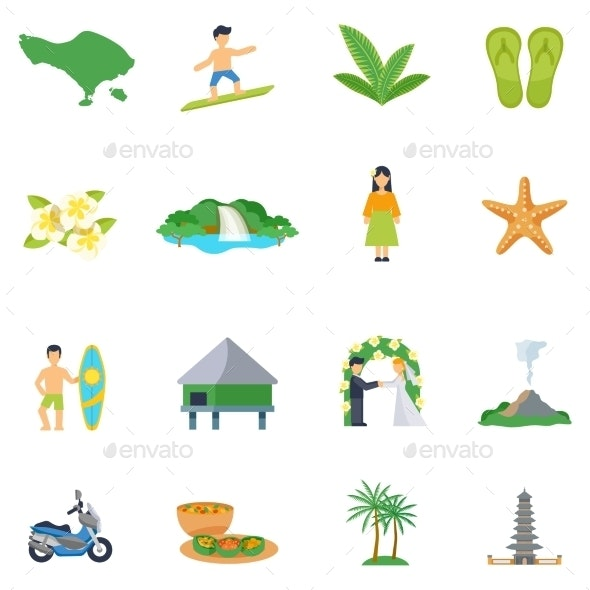 Set Of Flat Icons About Bali - Icons