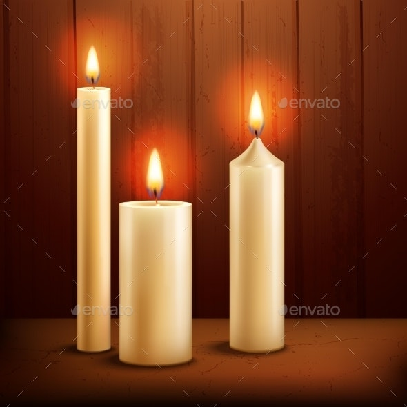 Candles Realistic Background - Religion Conceptual