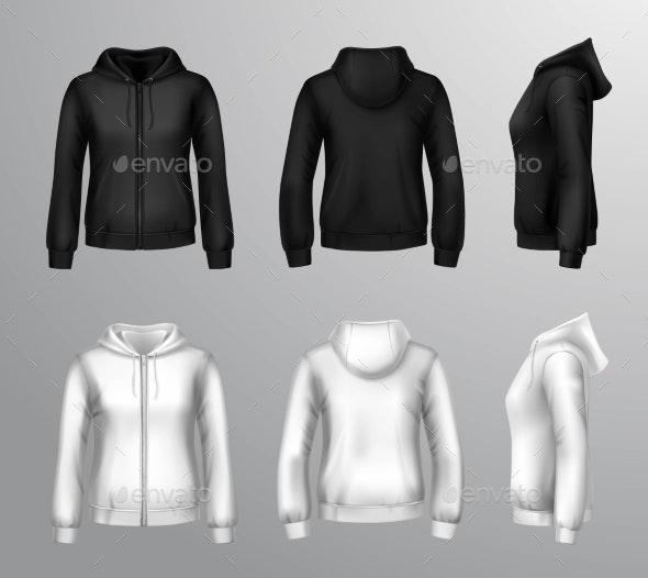 Women Black and White Hooded Sweatshirts - Decorative Symbols Decorative