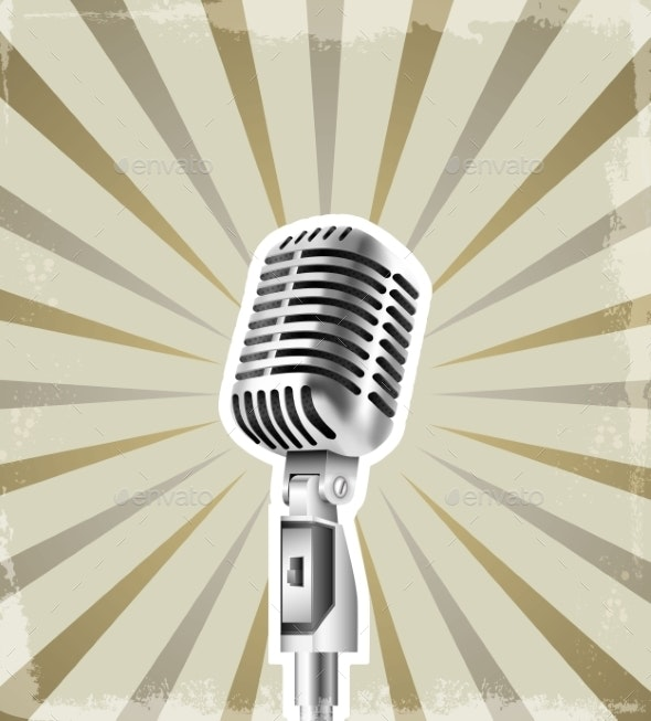 Microphone Retro Background - Backgrounds Decorative