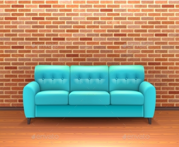 Brick Wall Interior With Sofa Realistic - Man-made Objects Objects
