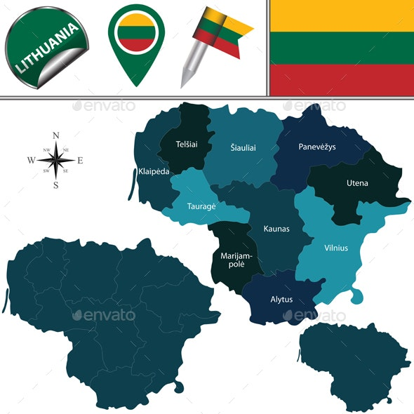 Map of Lithuania with Named Counties - Travel Conceptual