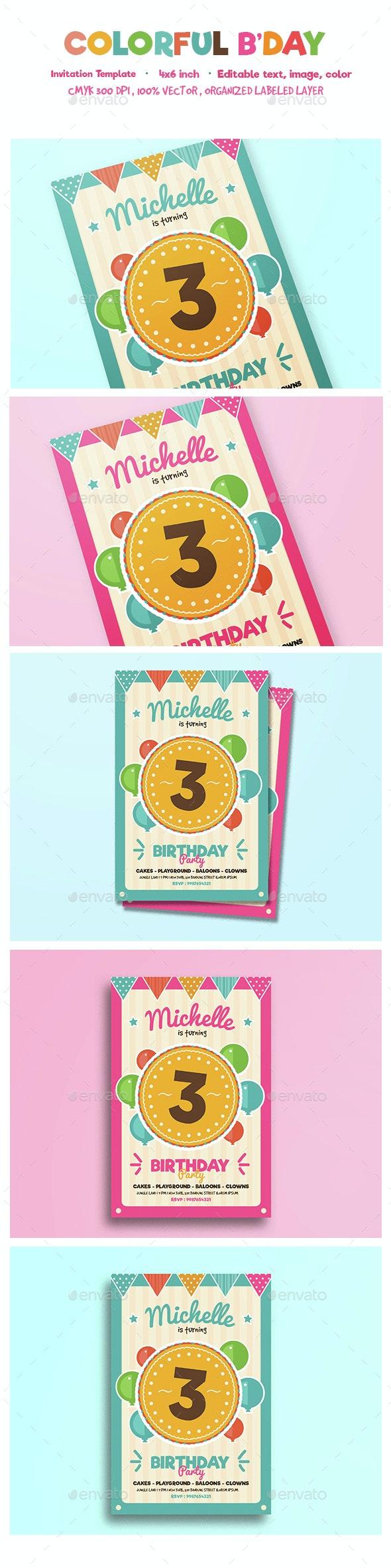 Colorful birthday invitation - Birthday Greeting Cards
