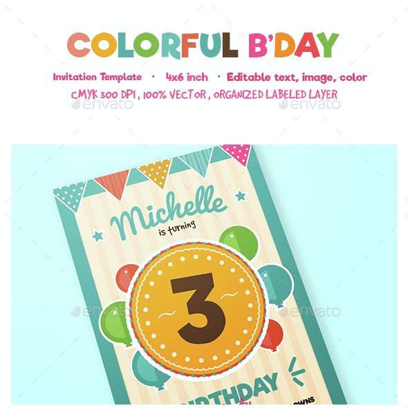 Colorful birthday invitation