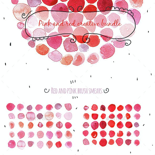 Red And Pink Smears Bundle