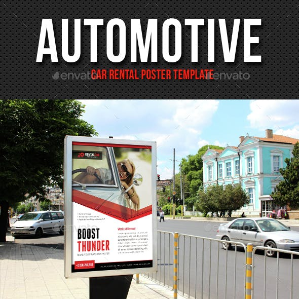 Automotive Car Rental Poster Template V03