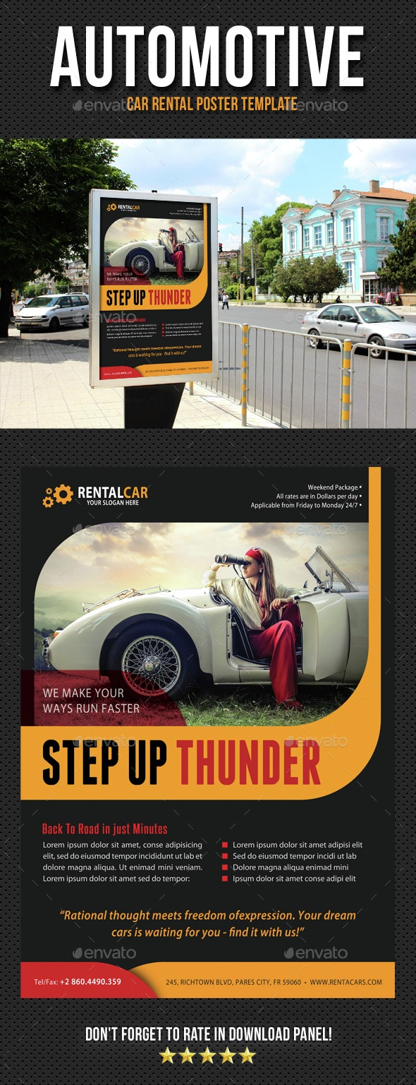 Automotive Car Rental Poster Template V04 - Signage Print Templates