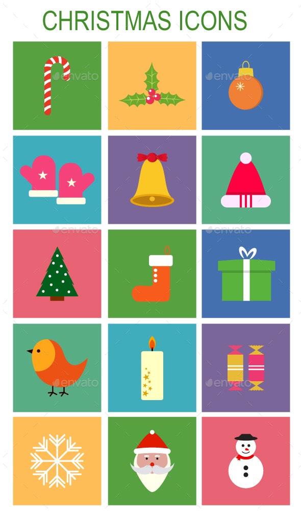 Vector Flat Christmas Icons - Seasonal Icons