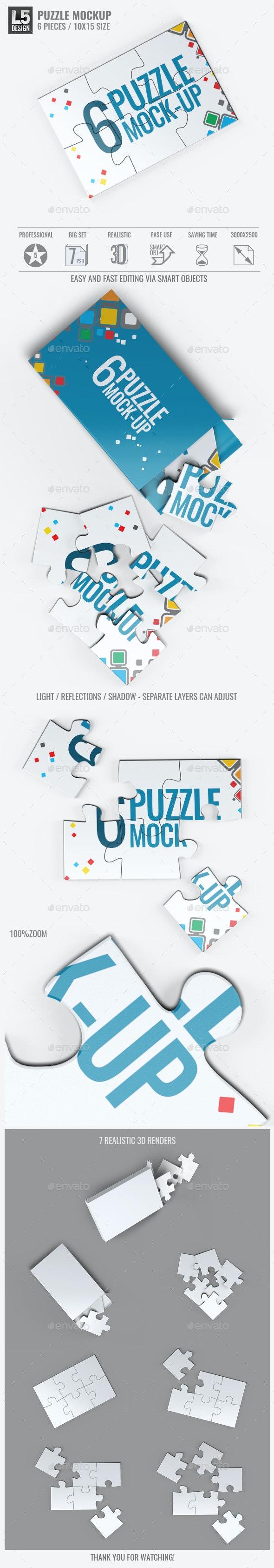 Puzzle 6 Pieces Mock-Up - Miscellaneous Print