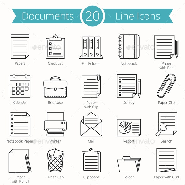 20 Documents Line Icons - Man-made objects Objects