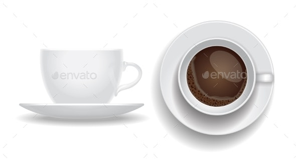 Coffee Cup Isolated Top and Side View - Food Objects