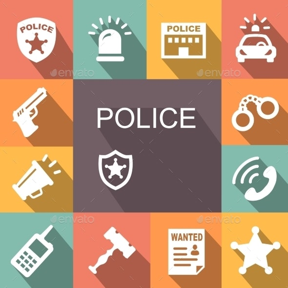 Police Icons Set with Shadow - Miscellaneous Vectors