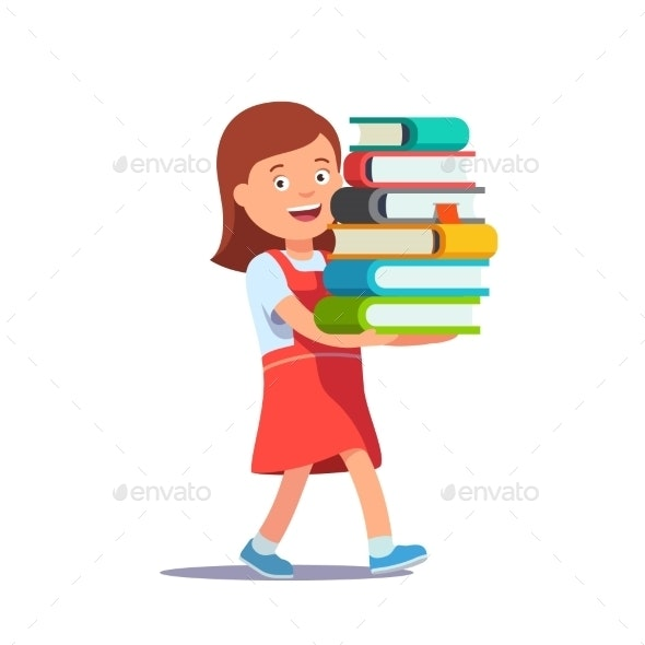School Girl Carrying Big Pile of Books - People Characters