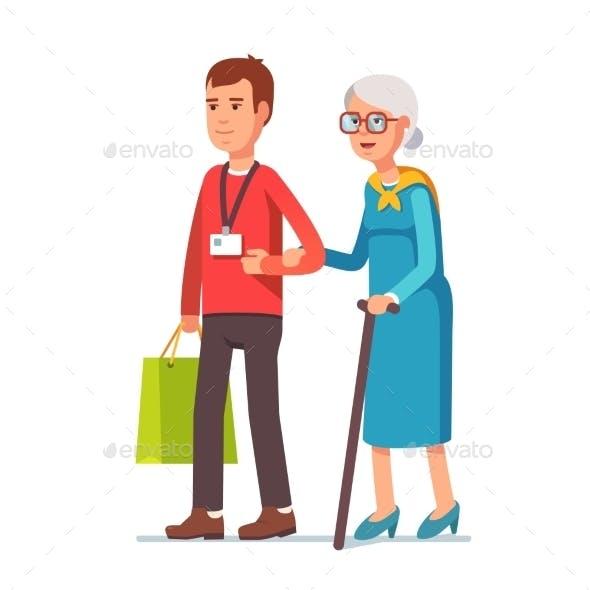 Man Social Worker Helping Elder Grey Haired Woman