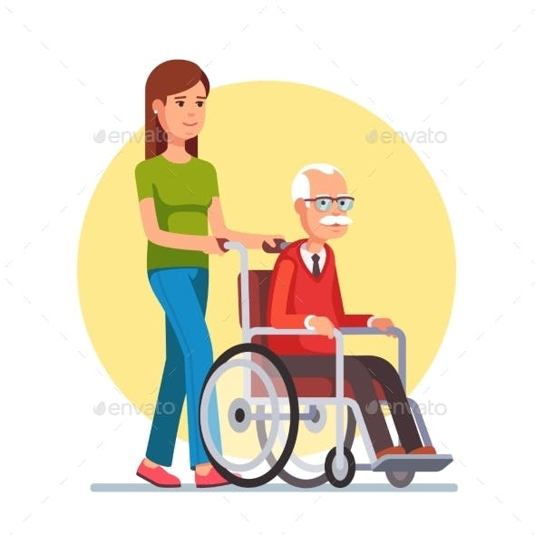 Woman Strolling with Elder Man in Wheelchair