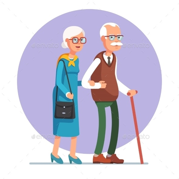 Senior Lady and Gentleman Walking Together - People Characters