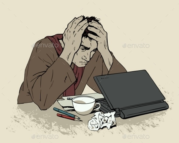 Man in Despair Sitting at a Computer with Headache - People Characters