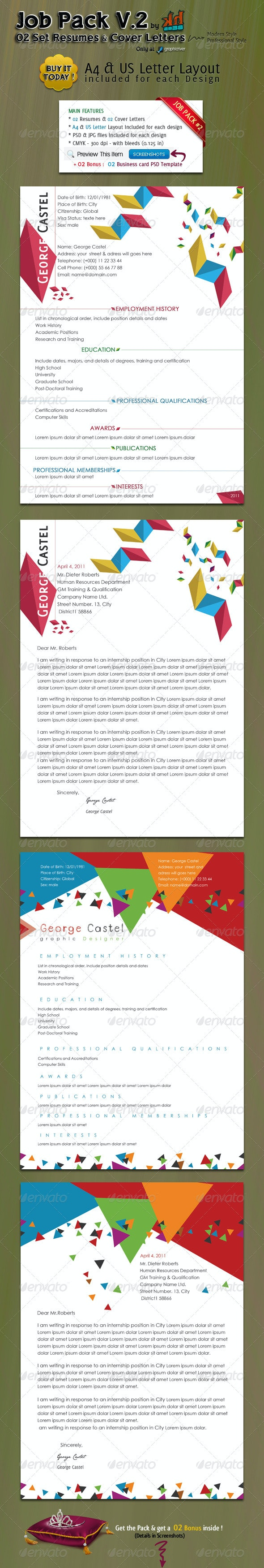 JOB PACK V.2: 2 Resumes with their Cover Letters - Resumes Stationery