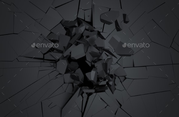 Abstract 3D Rendering Of Cracked Surface. - 3D Backgrounds