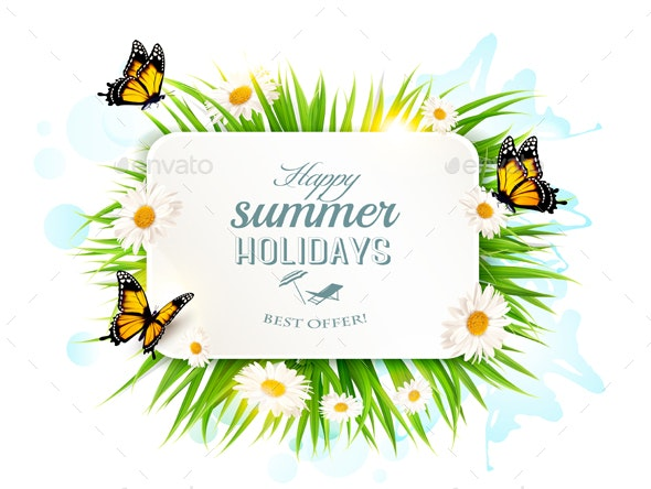 Summer Holidays Banner with Grass and Butterflies - Seasons Nature