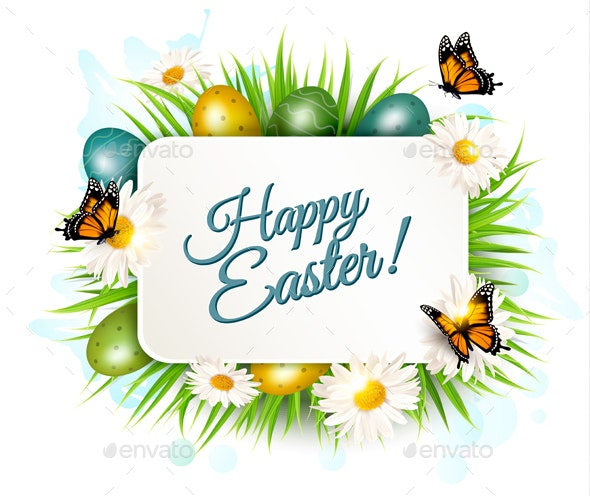 Spring Easter Background Easter Eggs in Grass - Miscellaneous Seasons/Holidays