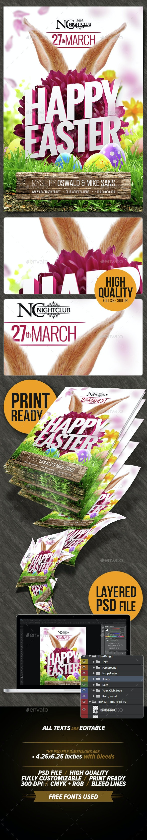 Happy Easter Party Flyer Template  - Clubs & Parties Events
