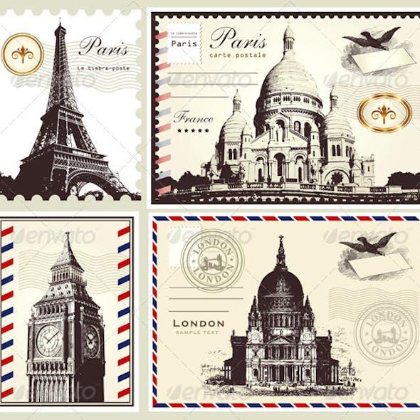 Vector set: symbols of Paris and London