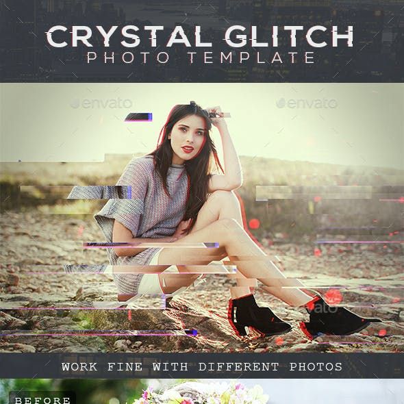 Crystal Glitch Fx Photo Template