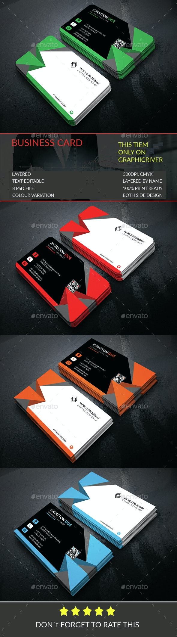 Business Card Template.308 - Business Cards Print Templates