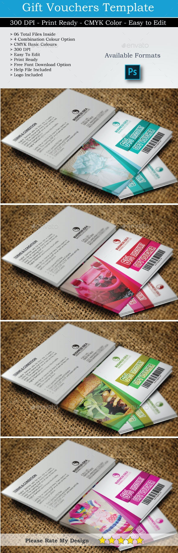 Simple Gift Vouchers - Cards & Invites Print Templates