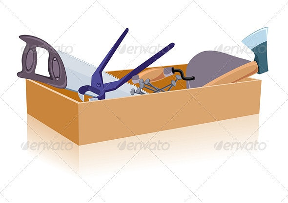 Toolbox, white and isolated background - Man-made Objects Objects