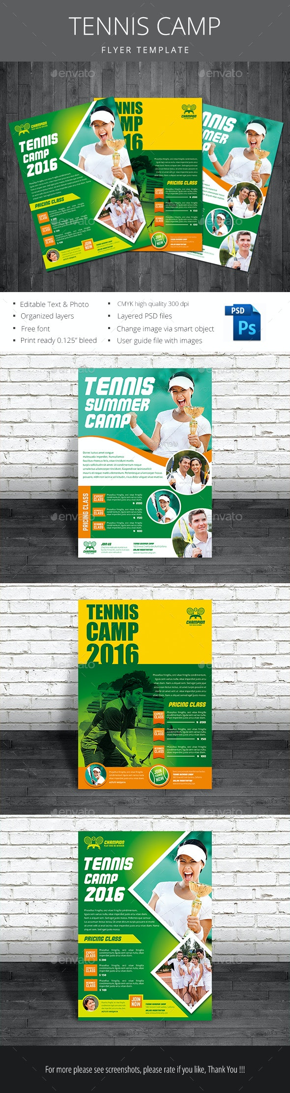 Tennis Camp Flyer - Sports Events