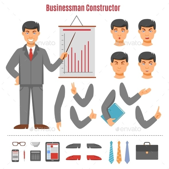 Businessman Constructor Set - People Characters