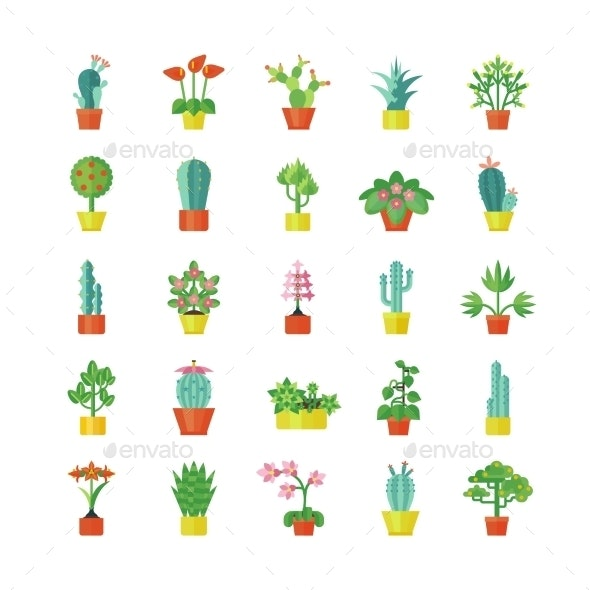 House Plants Flat Icons Set  - Objects Icons