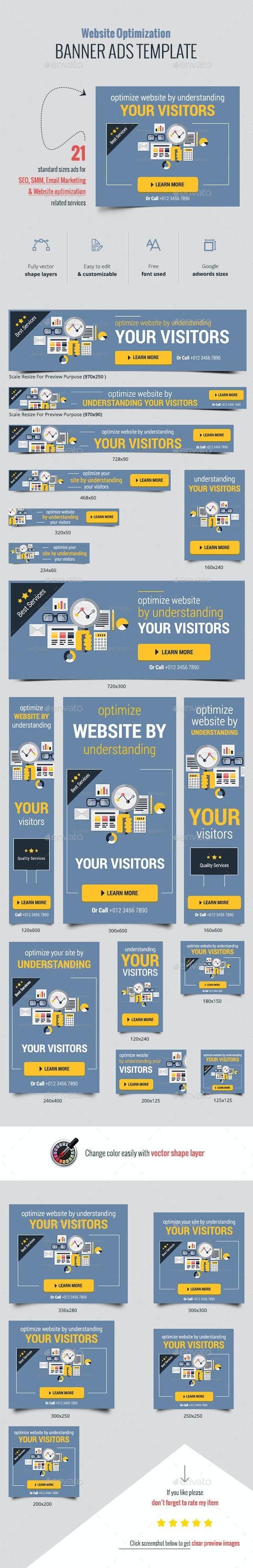 Flat Web Optimizing Banner Ads - Banners & Ads Web Elements