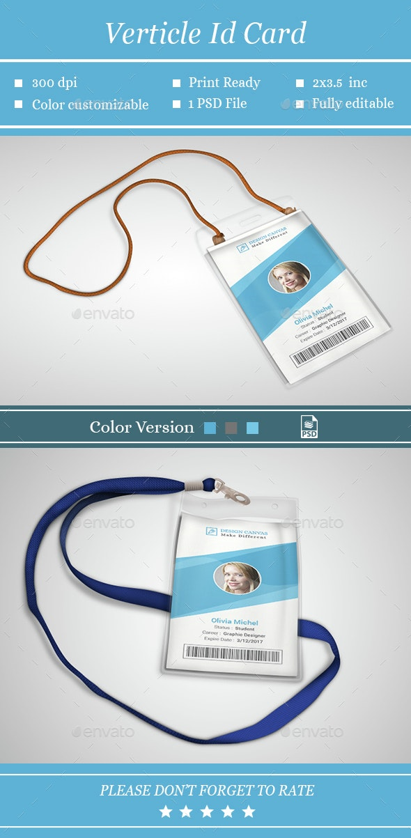 Verticle Id Card - Cards & Invites Print Templates