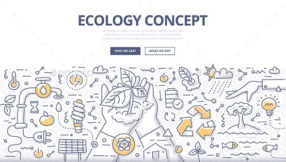 Ecology Doodle Concept - Flowers & Plants Nature